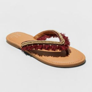 Beaded Fringe Thong Sandals - A New Day NWT